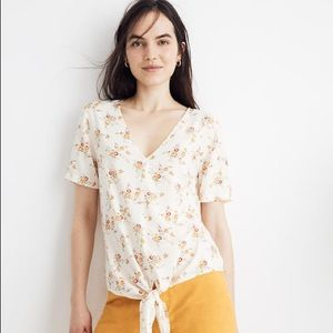Madewell Novel Tie-Front Top in Windowbox Floral S